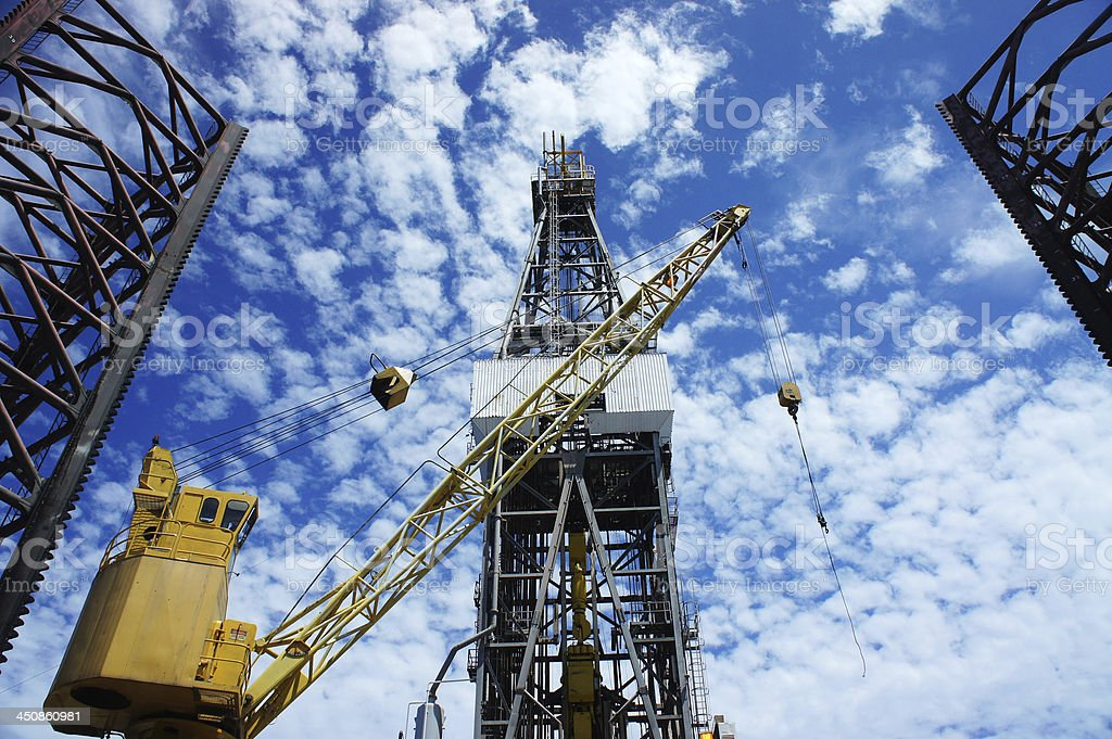 Derrick of Offshore Jack Up Oil Drilling Rig royalty-free stock photo