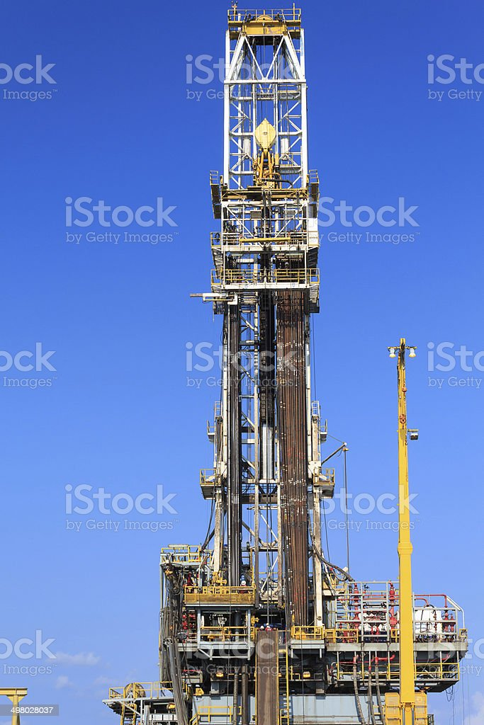 Derrick of Tender Drilling Oil Rig (Barge Oil Rig) royalty-free stock photo