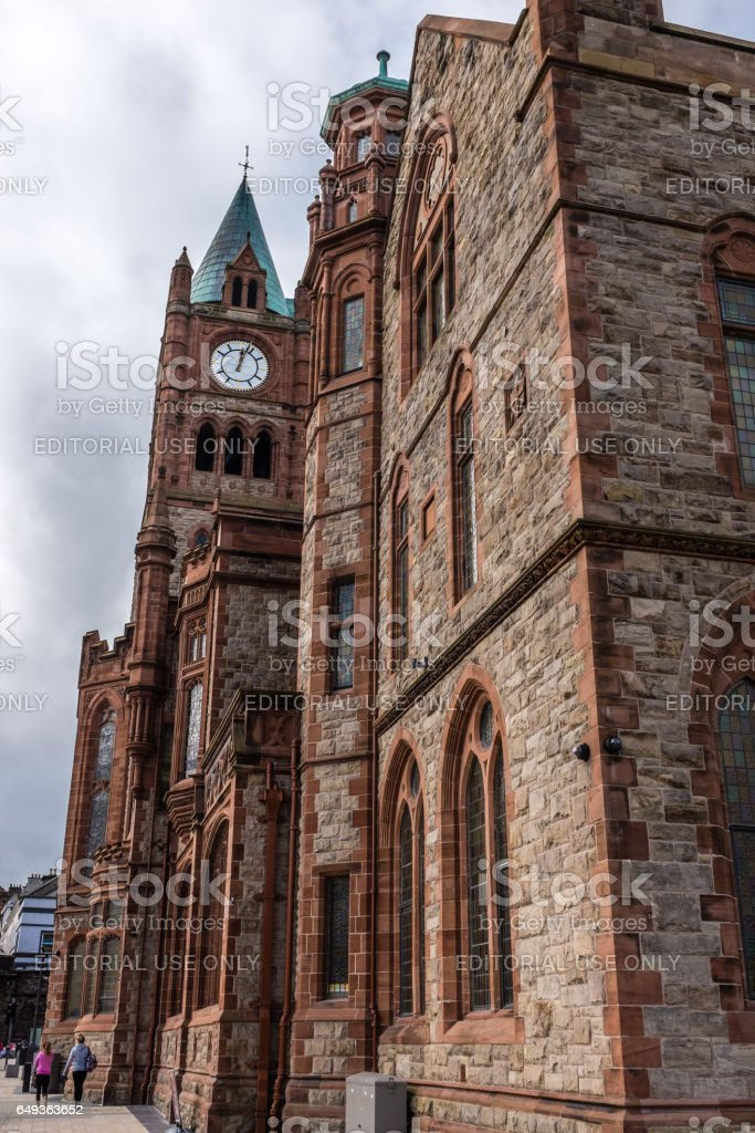 Derry, Northern Ireland - March 28th 2015 : Guildhall Building. stock photo