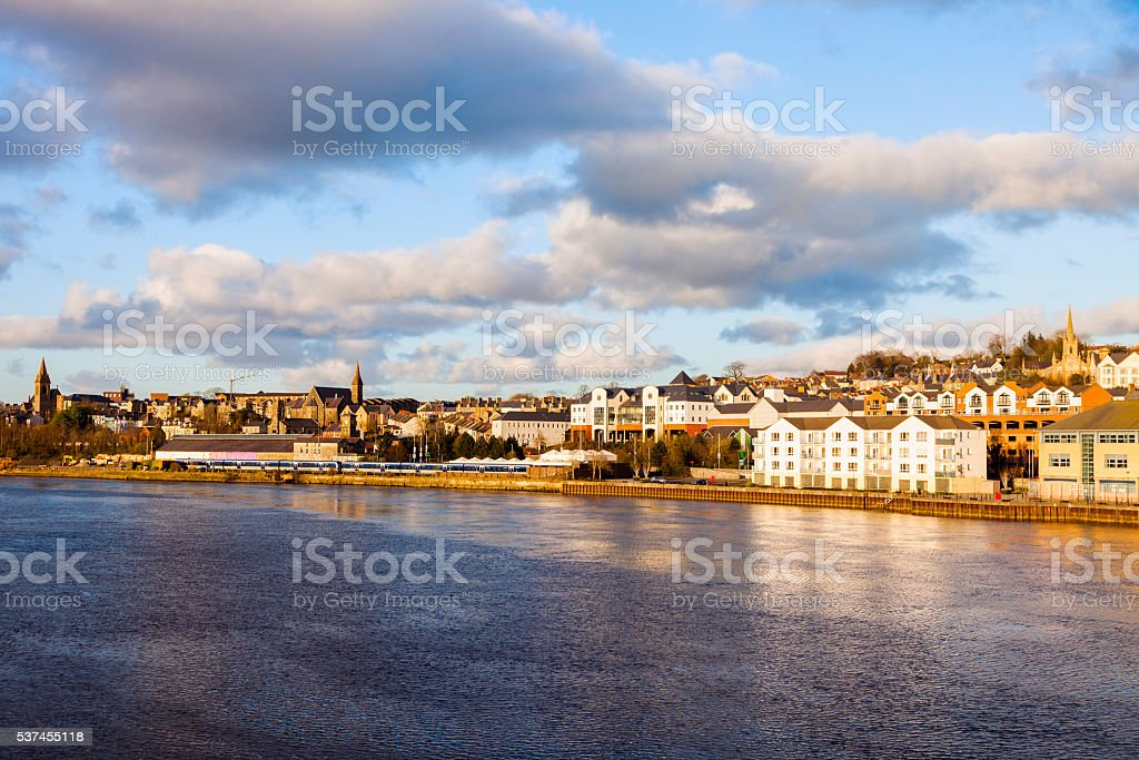 Derry panorama from Craigavon Bridge stock photo