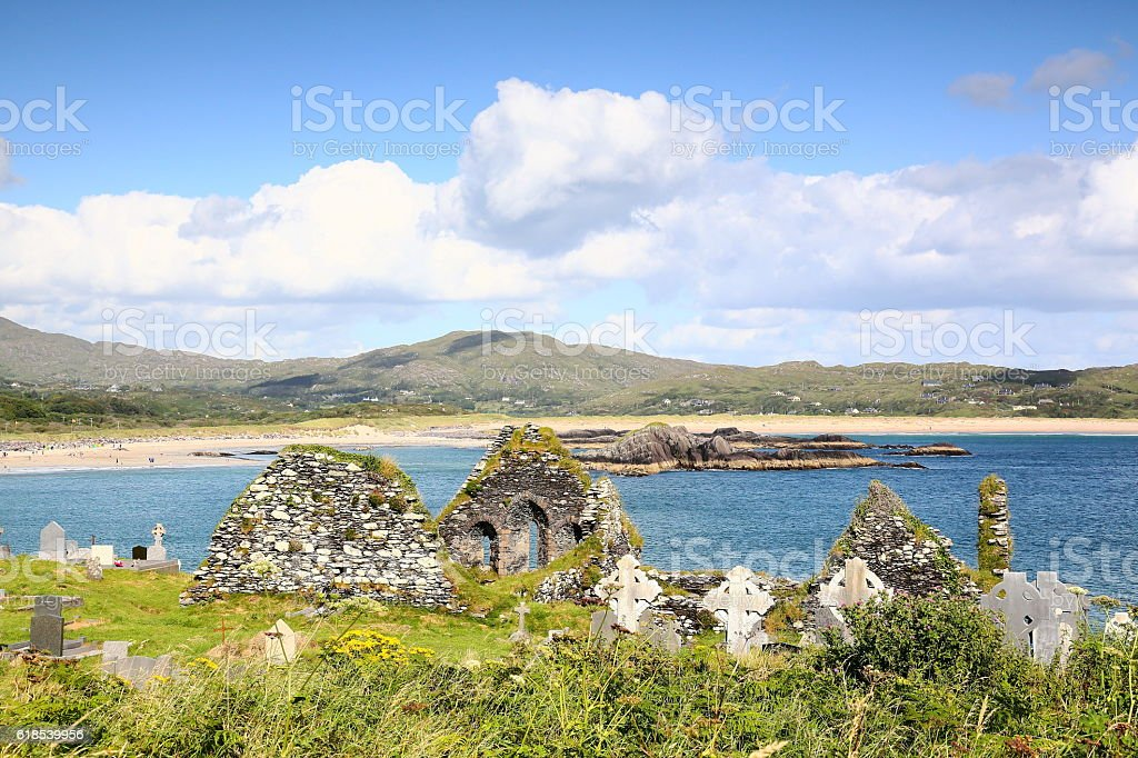 Derrynane Abbey ruin and graveyard, Ireland stock photo