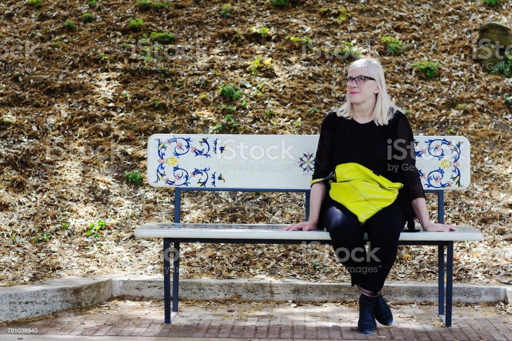Remarkable Deruta Umbria Old Town Woman Rests On Ceramic Bench Stock Spiritservingveterans Wood Chair Design Ideas Spiritservingveteransorg