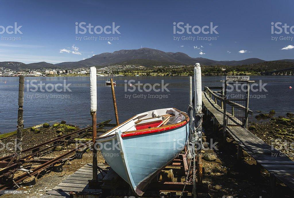 Derwent River with Mt Wellington in Hobart, Tasmania. stock photo
