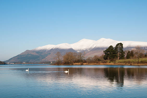Derwent Water, Cumbria, UK, in Winter. stock photo