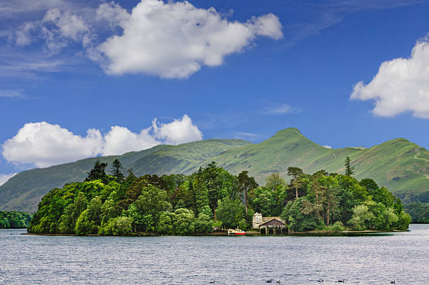Derwent Water, Island and Mountains, Keswick, Lake District, England. stock photo