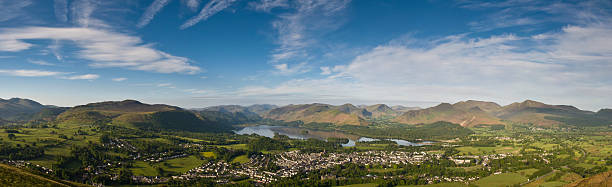 Derwent Water Panorama stock photo