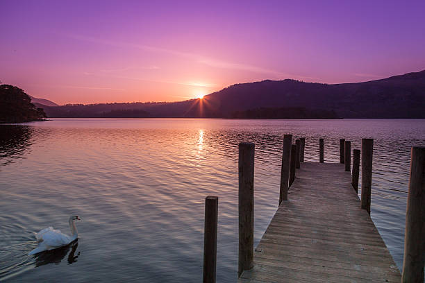 Derwent Water sunrise, Hawes End. stock photo