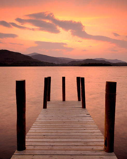 Derwent Water Sunset, Lake District National Park stock photo