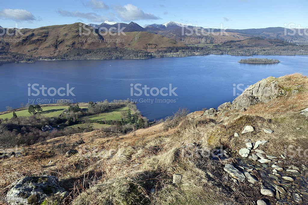 Derwentwater from the approach to Walla Cragg royalty-free stock photo