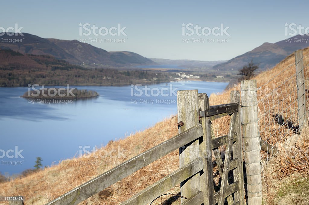 Derwentwater from the approach to Walla Cragg stock photo