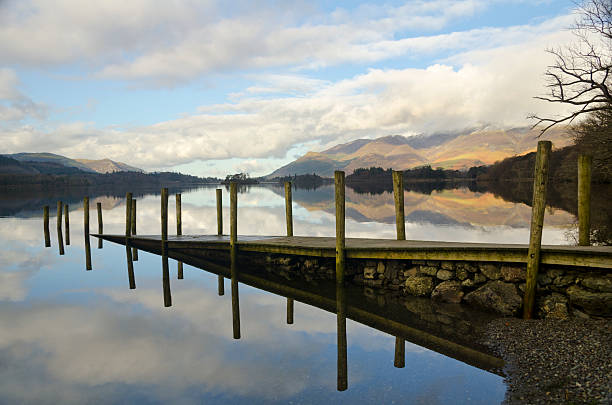 Derwentwater jetty. stock photo