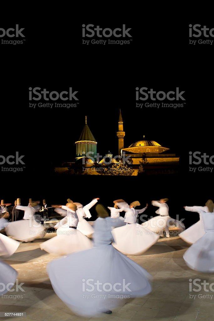 Derwish Performing in Mevlana Museem Garden stock photo