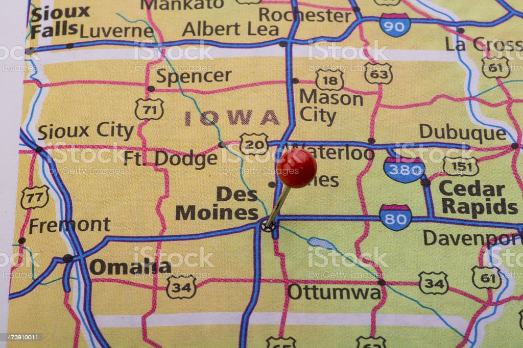 Des Moines Ia Map Pin Stock Photo - Download Image Now - iStock