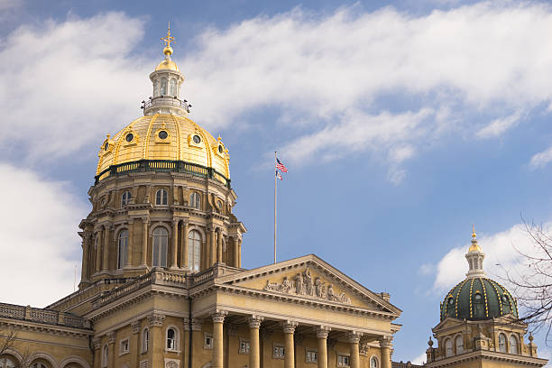 Des Moines Iowa Capital Building Government Dome Architecture stock photo