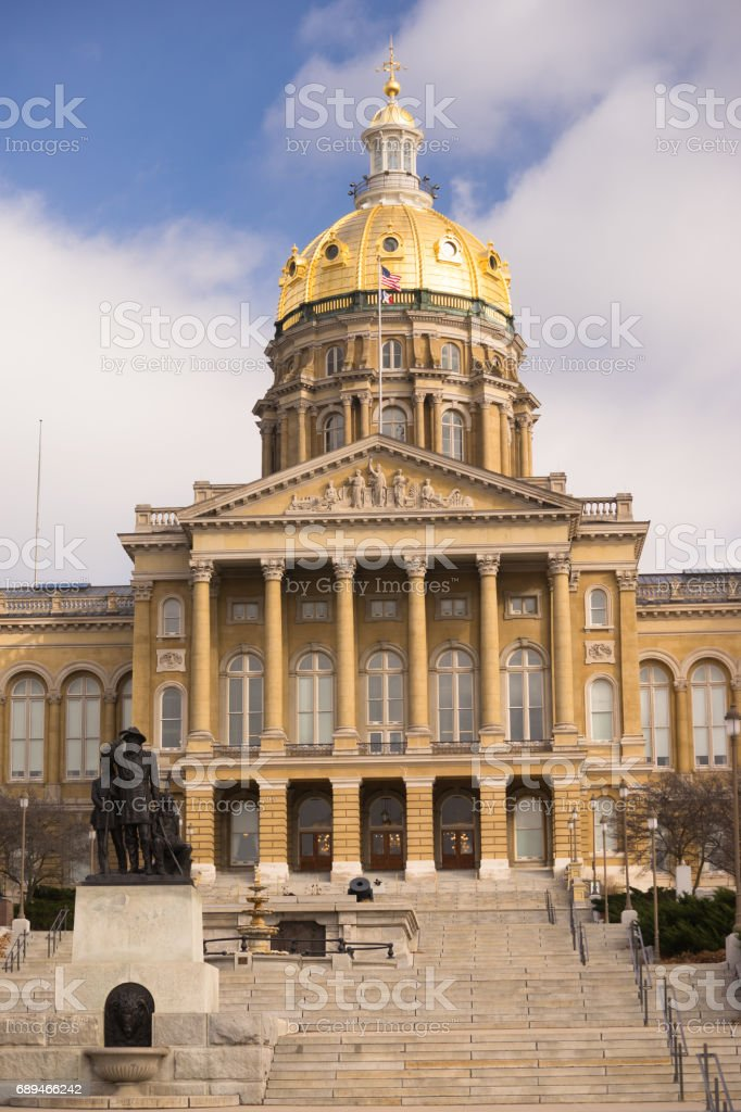 Des Moines Iowa Capital Building Government Dome Architecture stock photo