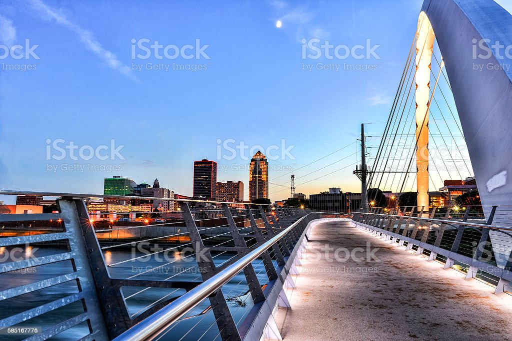 Des Moines Skyline and Walking Bridge at Night stock photo