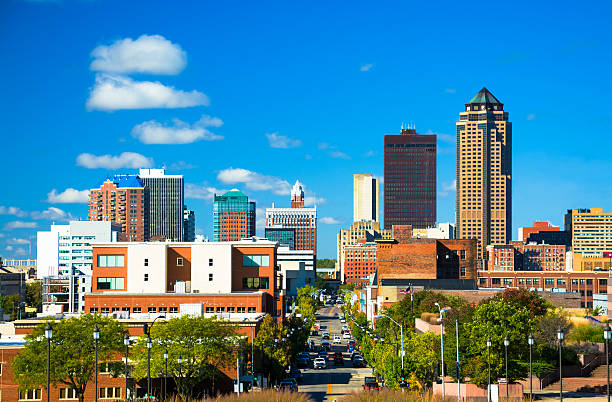 Des Moines Skyline View with Blue Sky and Clouds stock photo