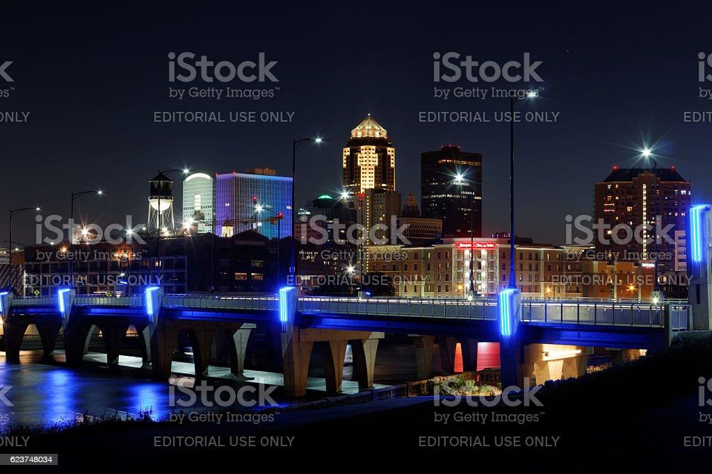 Des Moines Skyline with Orlando Memorial stock photo