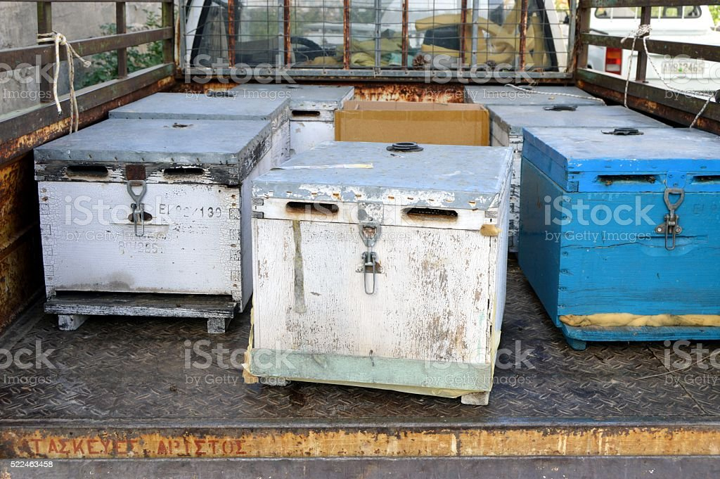 Des ruches d'abeilles. stock photo