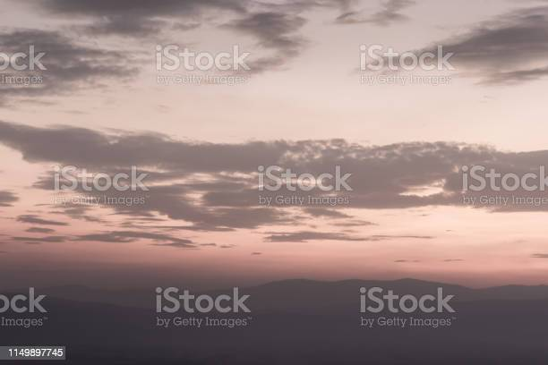 Photo of Desaturated view of a sunset sky and dreamy clouds