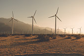Desaturated Palm Springs windfarm.