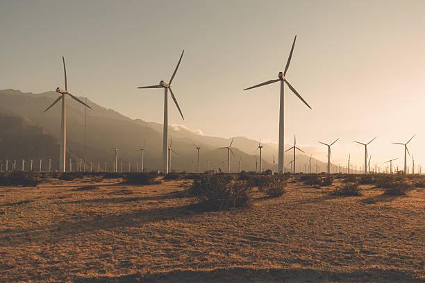 Desaturated Wind Turbines stock photo