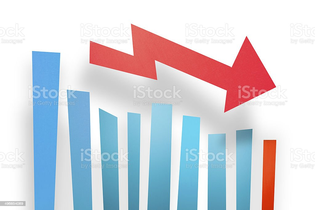 Descending Bar Graph with Arrow – Paper Graphics series stock photo