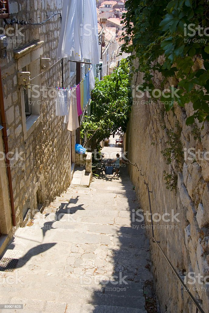 Descending Dubrovnik stairs royalty-free stock photo