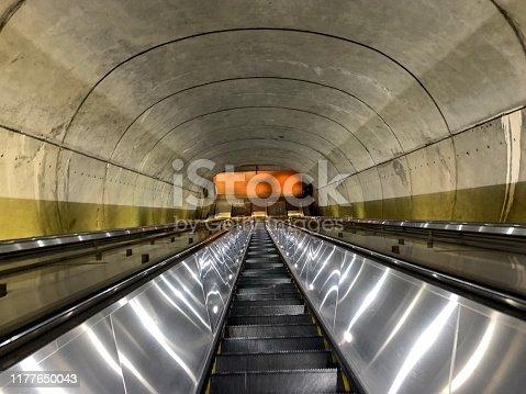 Looking down the escalator towards the Washington DC metro.