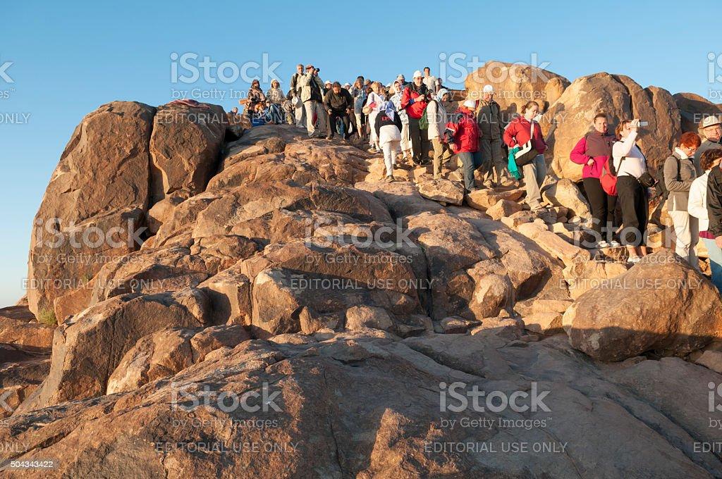 Descending Mount Sinai at sunrise stock photo
