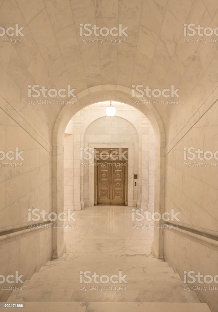 Descending Stairway in the Supreme Court of the United States in Washington, DC stock photo
