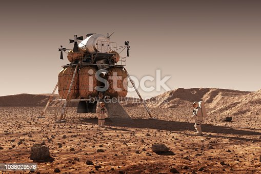 istock Descent Module Of Interplanetary Space Station And Astronauts On Surface Of Planet Mars 1038029576