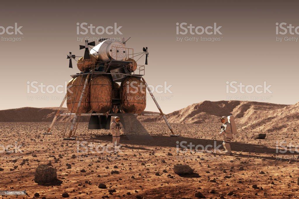 Module de descente de la Station spatiale interplanétaire et les astronautes sur la Surface de la planète Mars - Photo