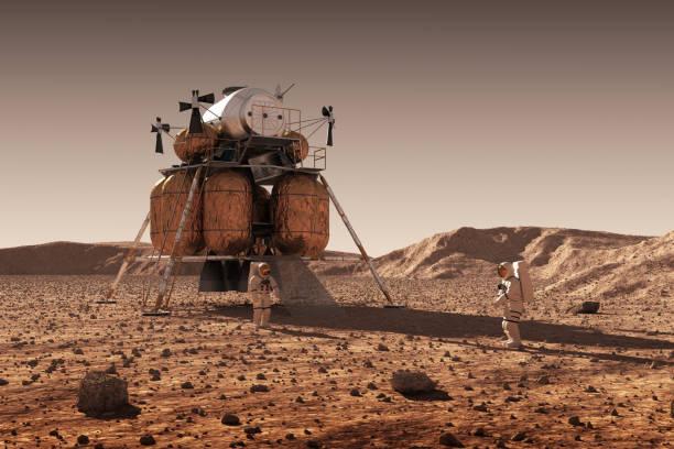 행성간 우주 정거장 및 우주 비행사 행성 화성 표면에 하강 모듈 - 전도 사업 시설 뉴스 사진 이미지