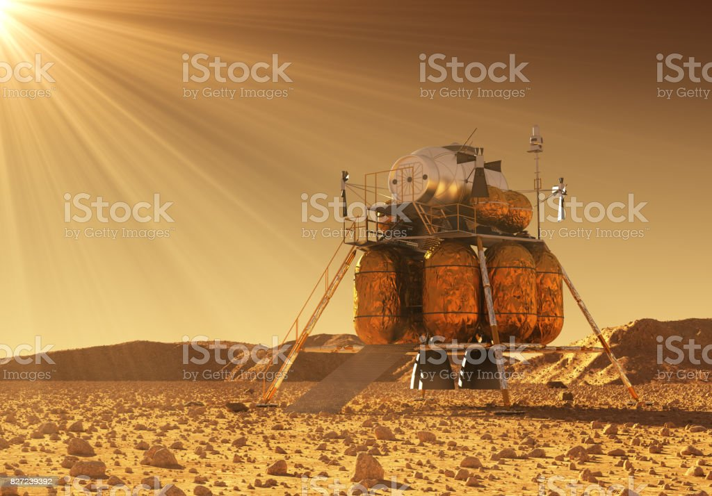 Descent Module Of Interplanetary Space Station In The Rays Of Martian Sun stock photo