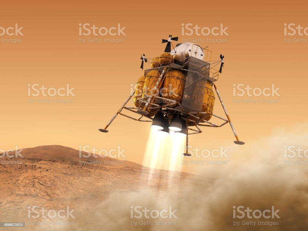 Module de descente de la Station spatiale interplanétaire atterrit sur la planète Mars - Photo