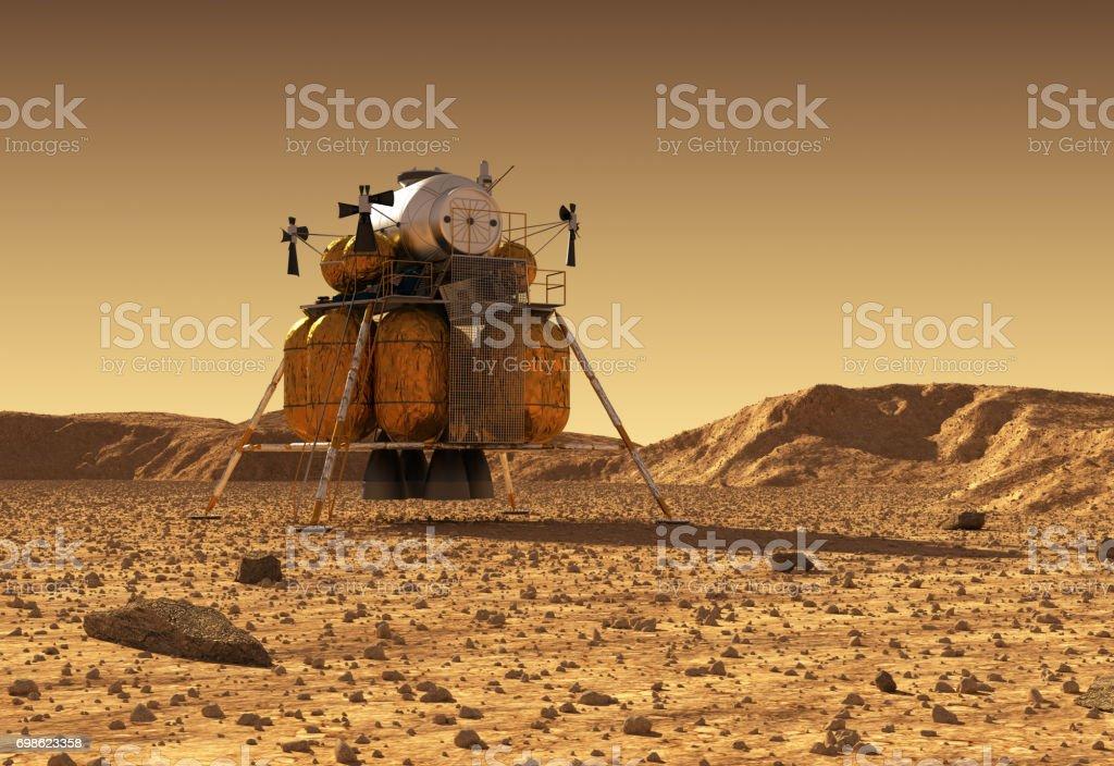 Module de descente de la Station spatiale interplanétaire sur la Surface de la planète Mars - Photo