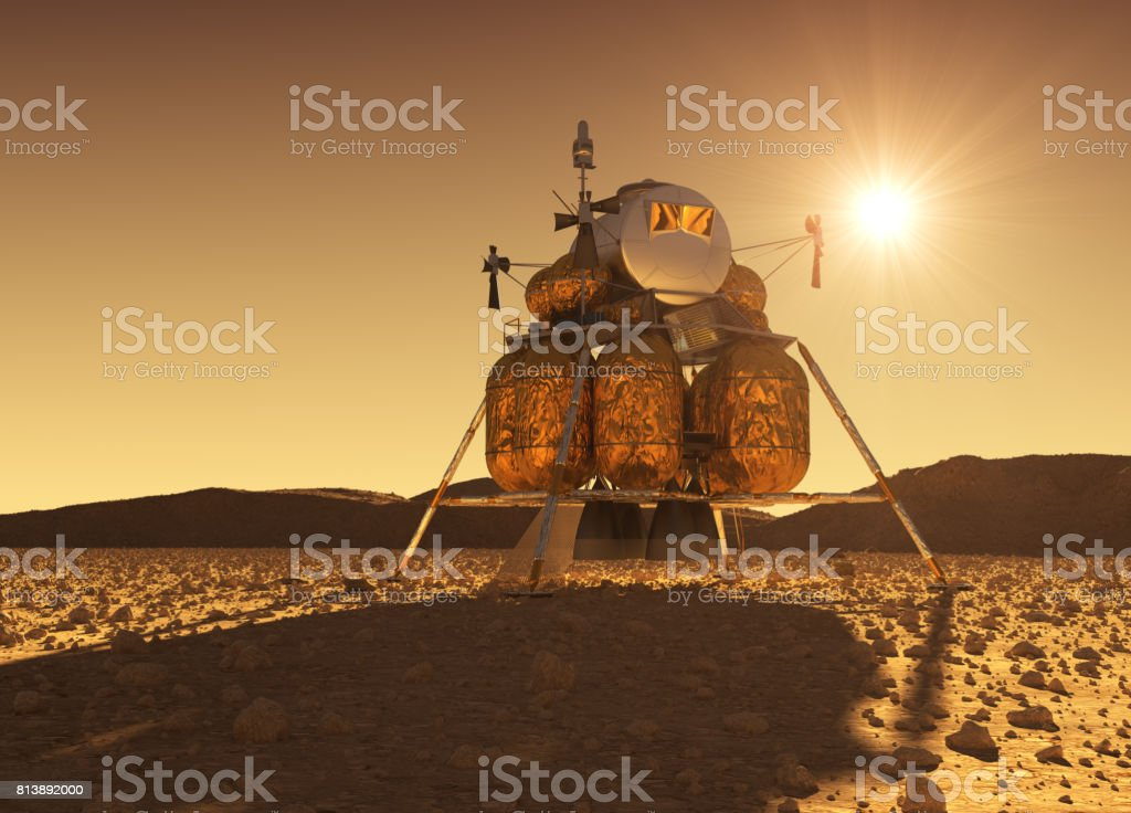 Descent Module Of Interplanetary Space Station On The Background Of Martian Sun stock photo