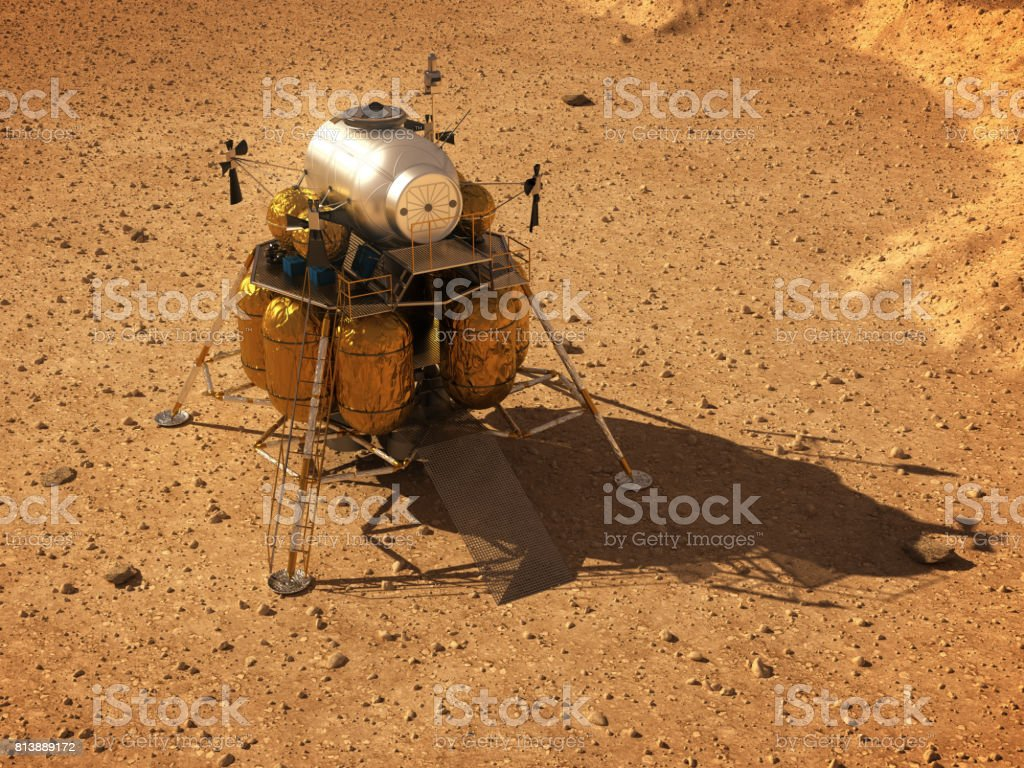 Descent Module On Surface Of Planet Mars stock photo