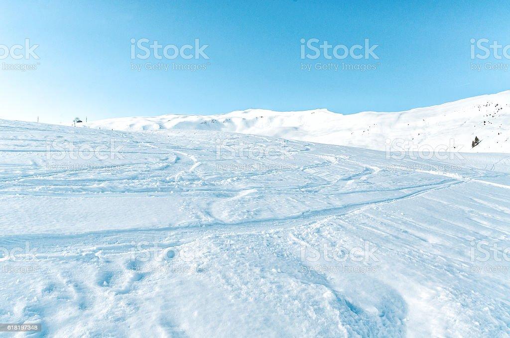 Descent. Ski resort. Swiss Alps stock photo