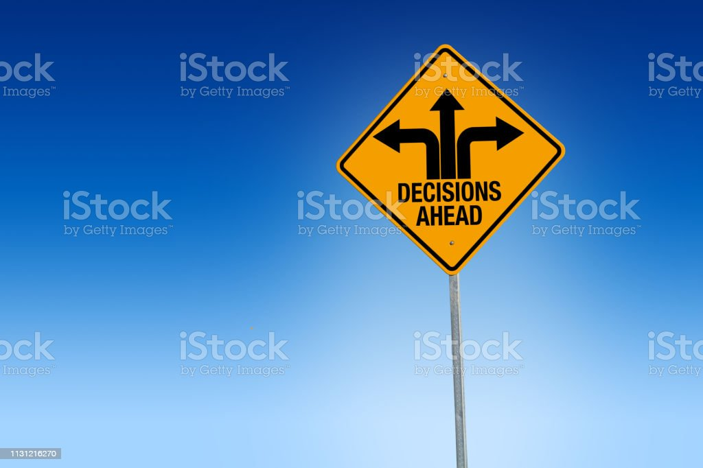 Descisions ahead road sign in warning yellow with blue background, - Illustration Descisions ahead road sign in warning yellow with blue background, - Illustration Adolescence Stock Photo