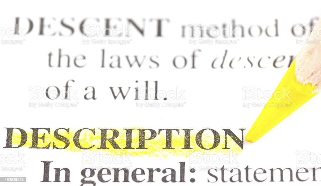 description defintion word marked in dictionary stock photo