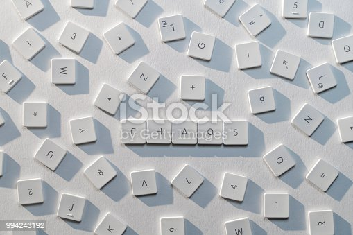 istock description of the word Chaos with the letters of an old keyboard 994243192