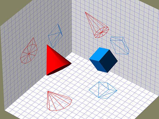 Descriptive geometry 3D projection stock photo