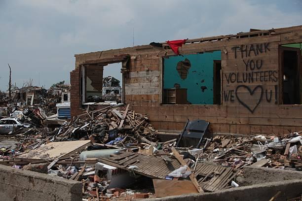 Desctruction after a Deadly Tornado outbreak in Joplin stock photo