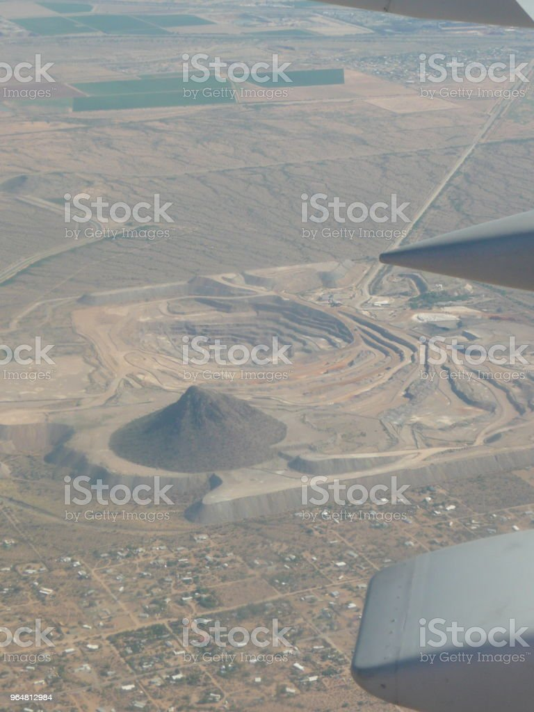 Desert aerial view from the window of an aeroplane royalty-free stock photo