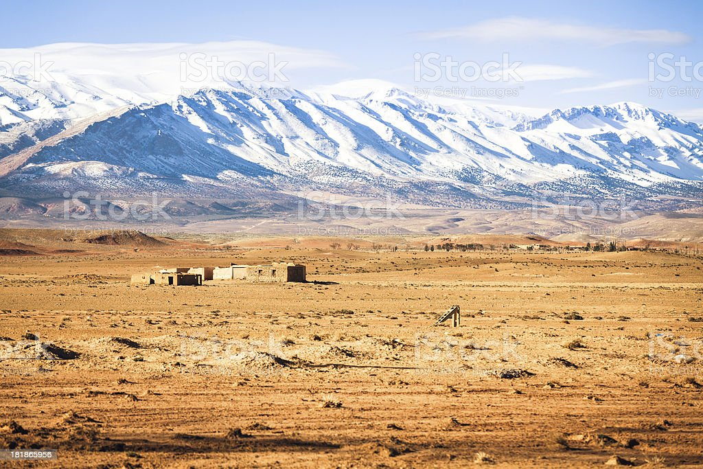 Desert and Atlas Mountain range, Morocco stock photo