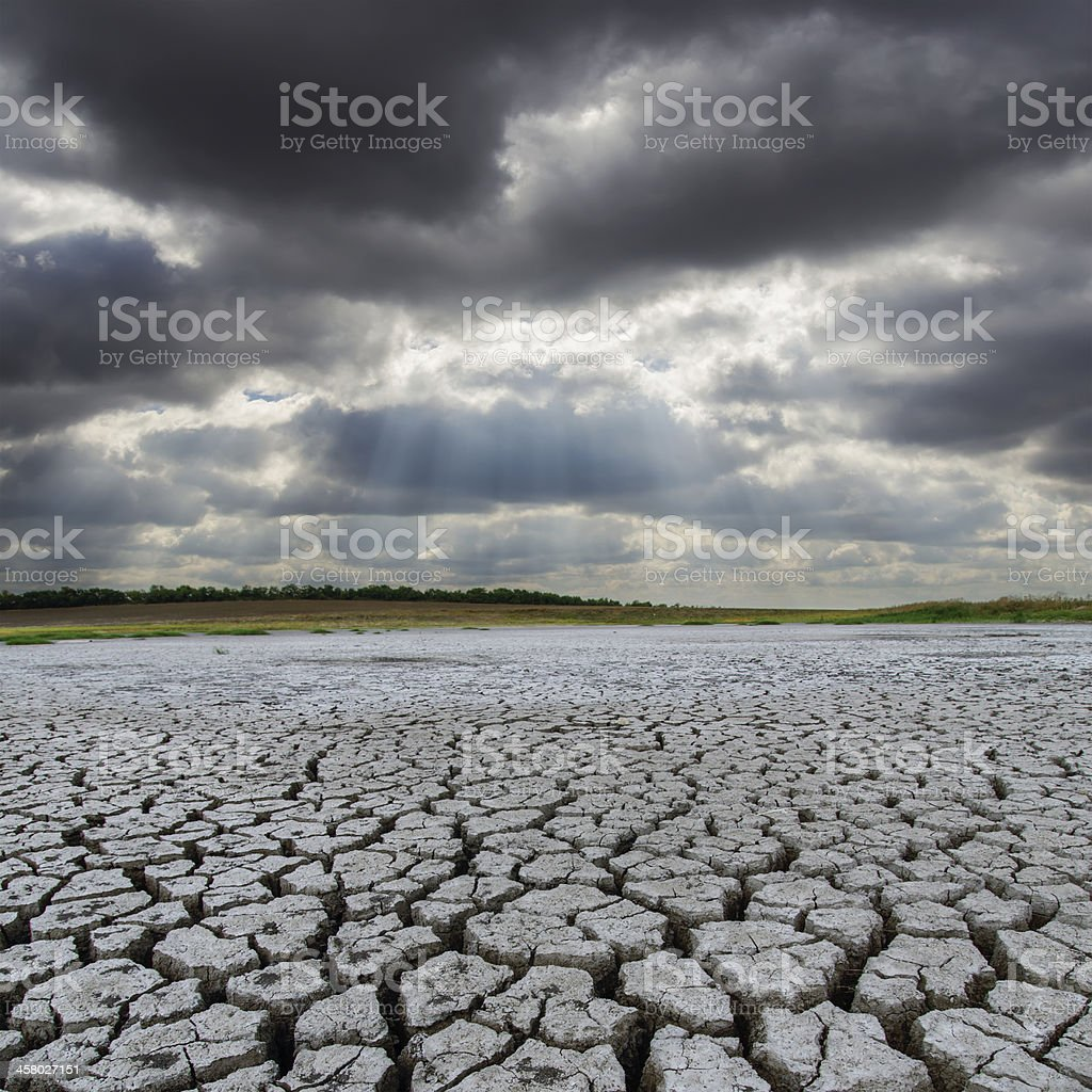 desert and low clouds over it stock photo