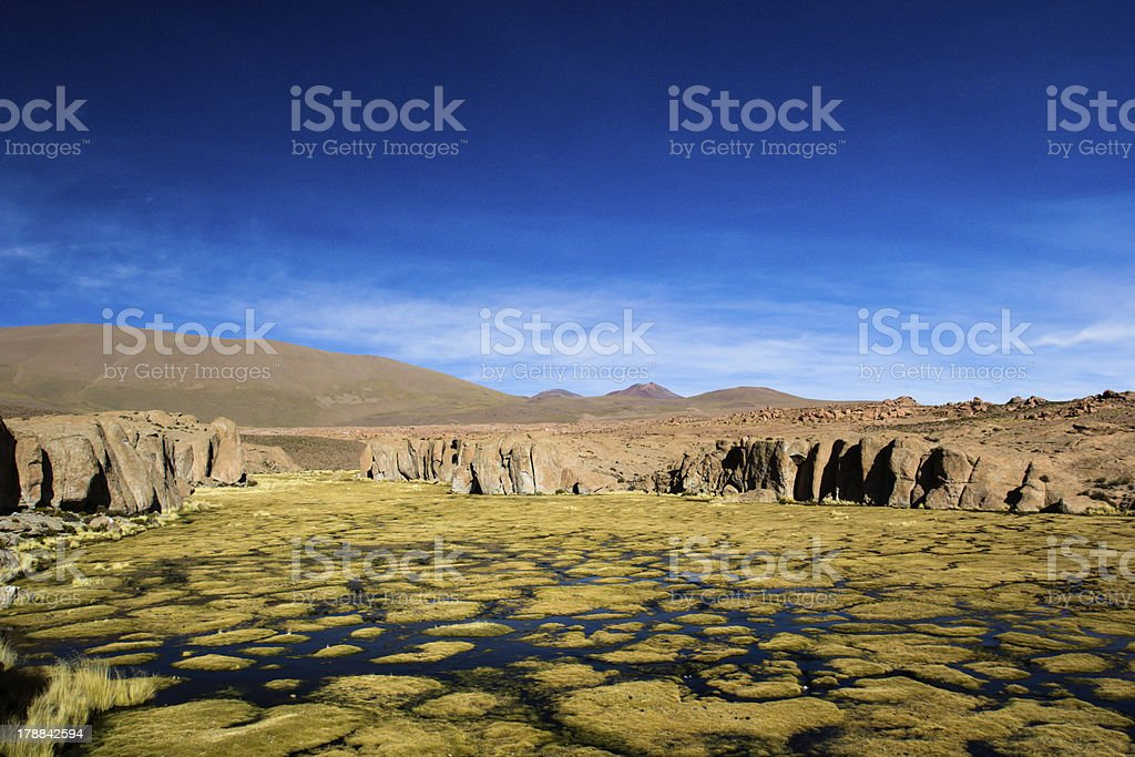 Desert and mountain in Altiplano,Bolivia stock photo