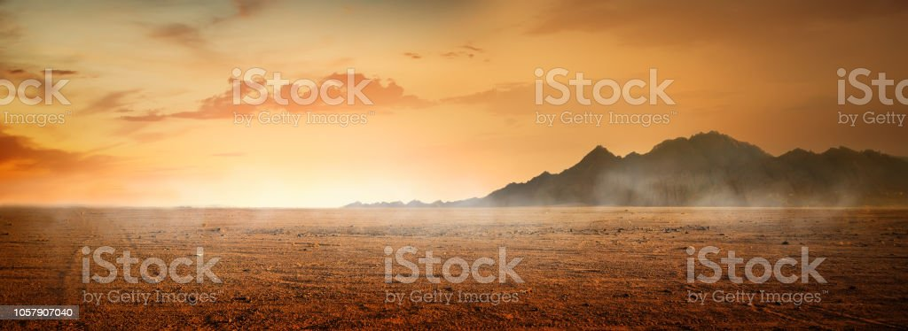 Desert and mountains stock photo